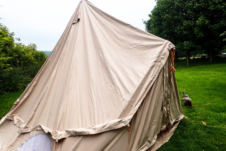 Bell tent with A frame erected