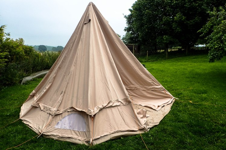 Bell tent half up